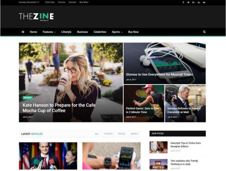 mẫu giao diện làm đẹp The Zine