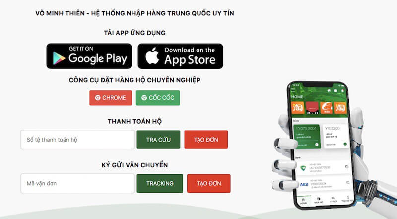 ứng dụng đặt hàng Trung Quốc VMT